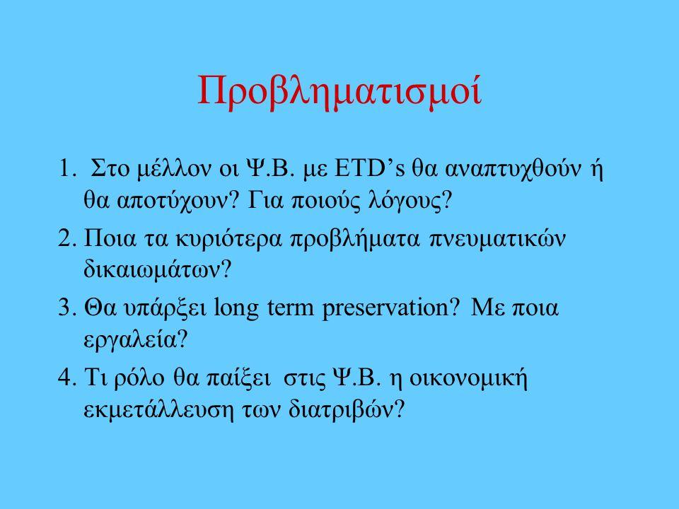 Προβληματισμοί 1. Στο μέλλον οι Ψ.Β. με ETD's θα αναπτυχθούν ή θα αποτύχουν.