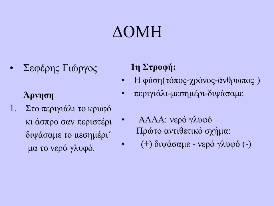 ΔΟΜΗ Σεφέρης Γιώργος Άρνηση 1.