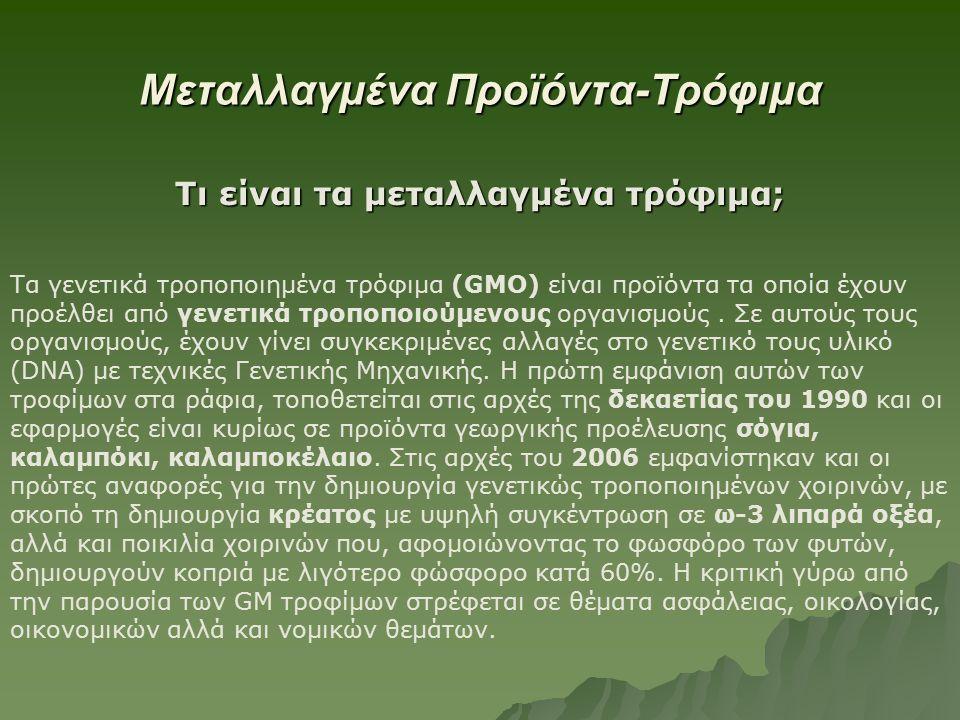 Μεταλλαγμένα Προϊόντα-Τρόφιμα Τι είναι τα μεταλλαγμένα τρόφιμα; Τα γενετικά τροποποιημένα τρόφιμα (GMO) είναι προϊόντα τα οποία έχουν προέλθει από γενετικά τροποποιούμενους οργανισμούς.