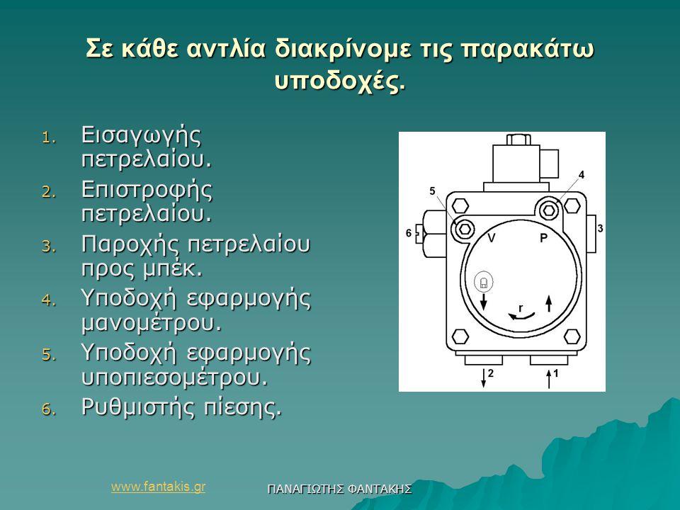 www.fantakis.gr ΠΑΝΑΓΙΩΤΗΣ ΦΑΝΤΑΚΗΣ Σε κάθε αντλία διακρίνομε τις παρακάτω υποδοχές. 1. Εισαγωγής πετρελαίου. 2. Επιστροφής πετρελαίου. 3. Παροχής πετ