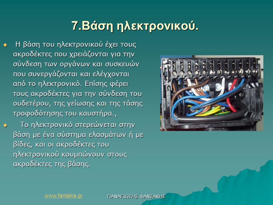 www.fantakis.gr ΠΑΝΑΓΙΩΤΗΣ ΦΑΝΤΑΚΗΣ 7.Βάση ηλεκτρονικού. 7.Βάση ηλεκτρονικού.  Η βάση του ηλεκτρονικού έχει τους ακροδέκτες που χρειάζονται για την σ