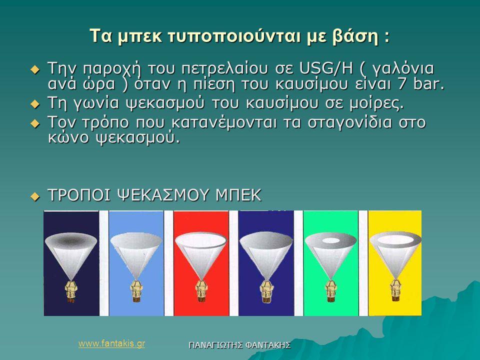 www.fantakis.gr ΠΑΝΑΓΙΩΤΗΣ ΦΑΝΤΑΚΗΣ Τα μπεκ τυποποιούνται με βάση :  Την παροχή του πετρελαίου σε USG/H ( γαλόνια ανά ώρα ) όταν η πίεση του καυσίμου