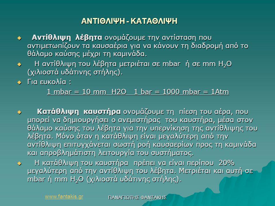 www.fantakis.gr ΠΑΝΑΓΙΩΤΗΣ ΦΑΝΤΑΚΗΣ ΑΝΤΙΘΛΙΨΗ - ΚΑΤΑΘΛΙΨΗ ΑΝΤΙΘΛΙΨΗ - ΚΑΤΑΘΛΙΨΗ  Αντίθλιψη λέβητα ονομάζουμε την αντίσταση που αντιμετωπίζουν τα καυσ