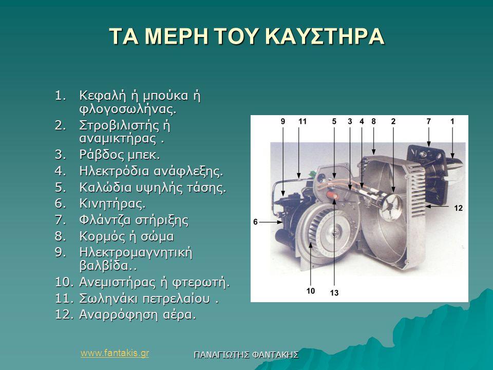 www.fantakis.gr ΠΑΝΑΓΙΩΤΗΣ ΦΑΝΤΑΚΗΣ ΤΑ ΜΕΡΗ ΤΟΥ ΚΑΥΣΤΗΡΑ 1.Κεφαλή ή μπούκα ή φλογοσωλήνας. 2.Στροβιλιστής ή αναμικτήρας. 3.Ράβδος μπεκ. 4.Ηλεκτρόδια α