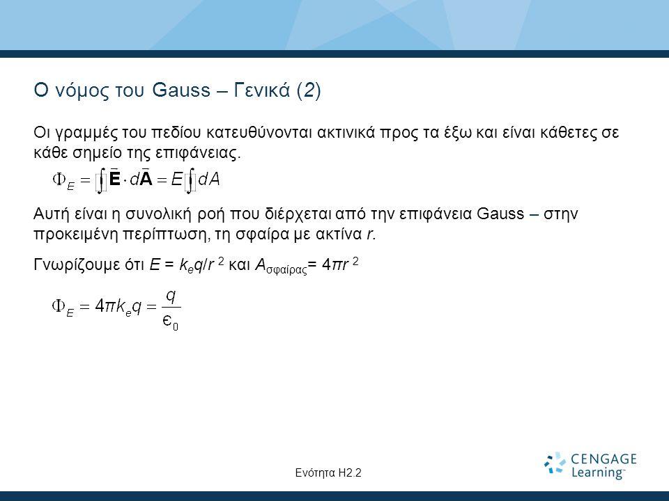 Ο νόμος του Gauss – Γενικά (2) Οι γραμμές του πεδίου κατευθύνονται ακτινικά προς τα έξω και είναι κάθετες σε κάθε σημείο της επιφάνειας. Αυτή είναι η