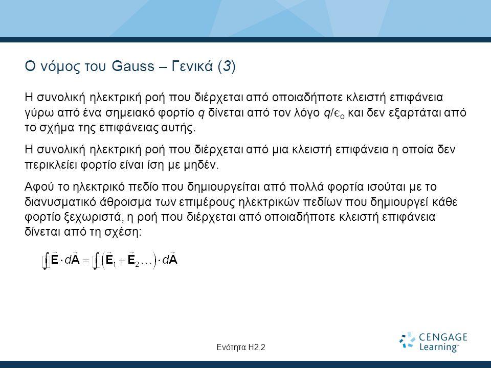 Ο νόμος του Gauss – Γενικά (3) Η συνολική ηλεκτρική ροή που διέρχεται από οποιαδήποτε κλειστή επιφάνεια γύρω από ένα σημειακό φορτίο q δίνεται από τον