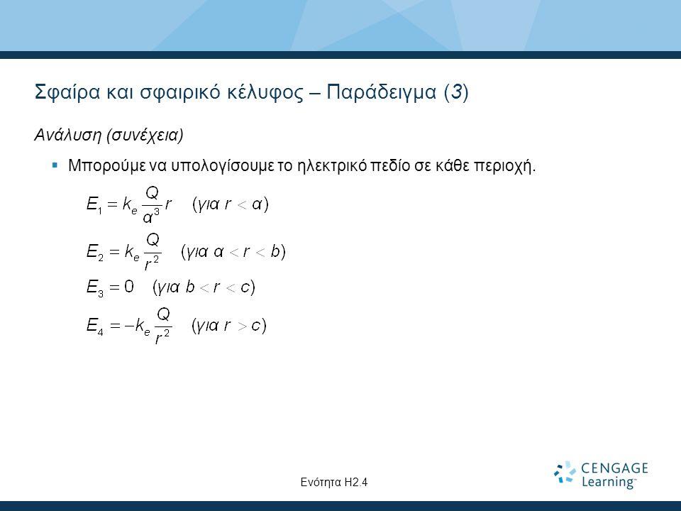 Σφαίρα και σφαιρικό κέλυφος – Παράδειγμα (3) Ανάλυση (συνέχεια)  Μπορούμε να υπολογίσουμε το ηλεκτρικό πεδίο σε κάθε περιοχή. Ενότητα Η2.4
