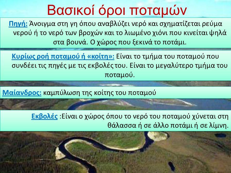 Πηγή: Άνοιγμα στη γη όπου αναβλύζει νερό και σχηματίζεται ρεύμα νερού ή το νερό των βροχών και το λιωμένο χιόνι που κινείται ψηλά στα βουνά. Ο χώρος π
