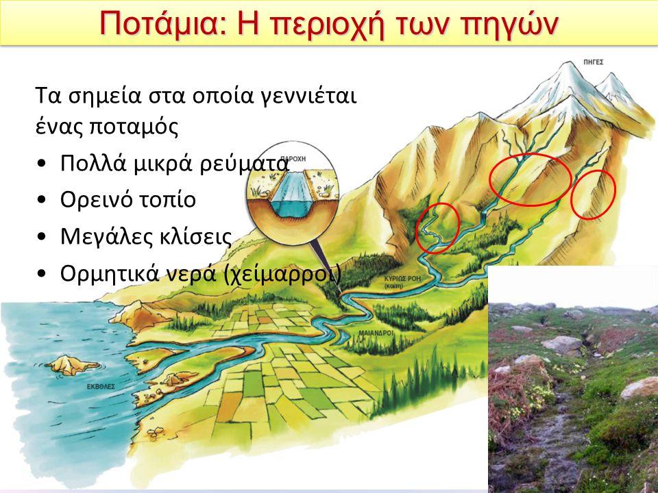 Ποτάμια: Η περιοχή των πηγών Τα σημεία στα οποία γεννιέται ένας ποταμός Πολλά μικρά ρεύματα Ορεινό τοπίο Μεγάλες κλίσεις Ορμητικά νερά (χείμαρροι)