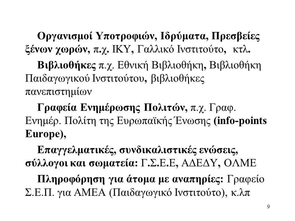 9 Οργανισμοί Υποτροφιών, Ιδρύματα, Πρεσβείες ξένων χωρών, π.χ.