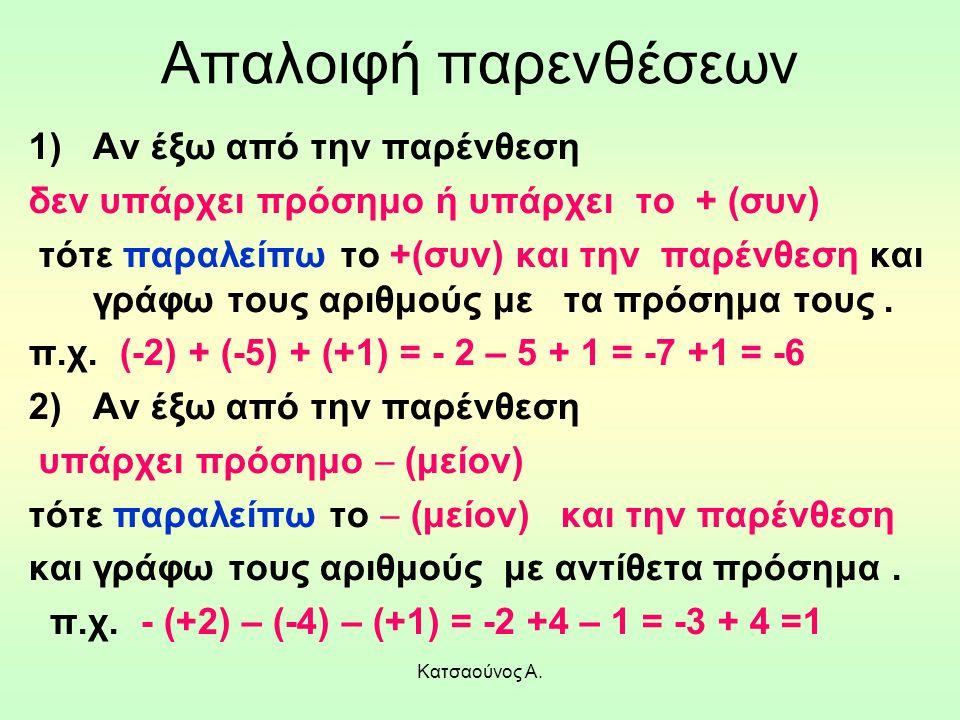 Κατσαούνος Α. Απαλοιφή παρενθέσεων 1)Αν έξω από την παρένθεση δεν υπάρχει πρόσημο ή υπάρχει το + (συν) τότε παραλείπω το +(συν) και την παρένθεση και