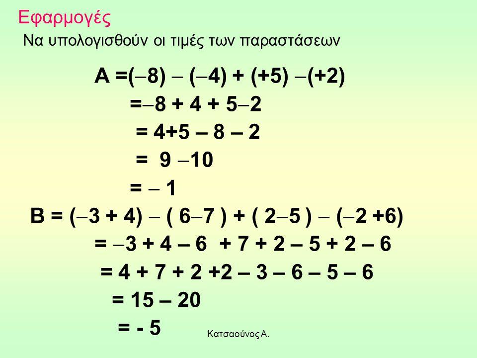 Κατσαούνος Α. Εφαρμογές Να υπολογισθούν οι τιμές των παραστάσεων Α =(  8)  (  4) + (+5)  (+2) =  8 + 4 + 5  2 = 4+5 – 8 – 2 = 9  10 =  1 Β = (