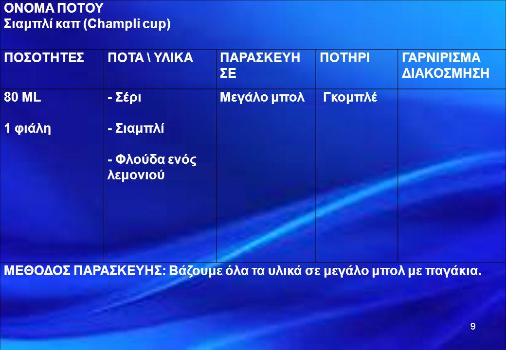 9 ΟΝΟΜΑ ΠΟΤΟΥ Σιαμπλί καπ (Champli cup) ΠΟΣΟΤΗΤΕΣΠΟΤΑ \ ΥΛΙΚΑΠΑΡΑΣΚΕΥΗ ΣΕ ΠΟΤΗΡΙΓΑΡΝΙΡΙΣΜΑ ΔΙΑΚΟΣΜΗΣΗ 80 ML 1 φιάλη - Σέρι - Σιαμπλί - Φλούδα ενός λεμ