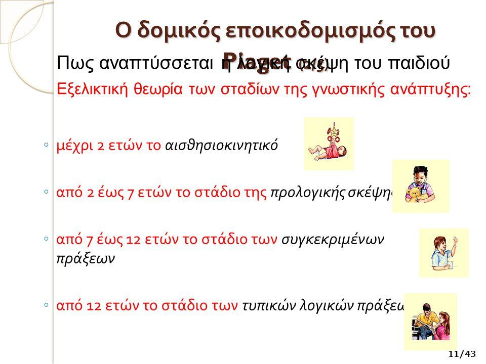 Ο δομικός εποικοδομισμός του Piaget ( 2/5) ◦ μέχρι 2 ετών το αισθησιοκινητικό ◦ από 2 έως 7 ετών το στάδιο της προλογικής σκέψης ◦ από 7 έως 12 ετών το στάδιο των συγκεκριμένων πράξεων ◦ από 12 ετών το στάδιο των τυπικών λογικών πράξεων Πως αναπτύσσεται η λογική σκέψη του παιδιού Εξελικτική θεωρία των σταδίων της γνωστικής ανάπτυξης: 11/43