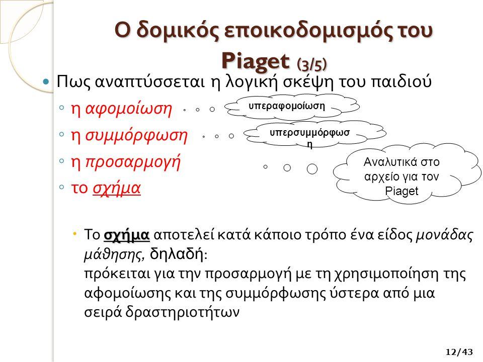 Ο δομικός εποικοδομισμός του Piaget ( 3/5) Πως αναπτύσσεται η λογική σκέψη του παιδιού ◦ η αφομοίωση ◦ η συμμόρφωση ◦ η προσαρμογή ◦ το σχήμα σχήμα  Το σχήμα αποτελεί κατά κάποιο τρόπο ένα είδος μονάδας μάθησης, δηλαδή : πρόκειται για την προσαρμογή με τη χρησιμοποίηση της αφομοίωσης και της συμμόρφωσης ύστερα από μια σειρά δραστηριοτήτων 12/43 υπεραφομοίωση υπερσυμμόρφωσ η Αναλυτικά στο αρχείο για τον Piaget