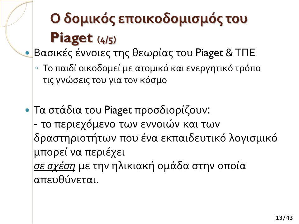 Ο δομικός εποικοδομισμός του Piaget ( 4/5) Βασικές έννοιες της θεωρίας του Piaget & ΤΠΕ ◦ Το παιδί οικοδομεί με ατομικό και ενεργητικό τρόπο τις γνώσεις του για τον κόσμο Τα στάδια του Piaget προσδιορίζουν : - το περιεχόμενο των εννοιών και των δραστηριοτήτων που ένα εκπαιδευτικό λογισμικό μπορεί να περιέχει σε σχέση με την ηλικιακή ομάδα στην οποία απευθύνεται.