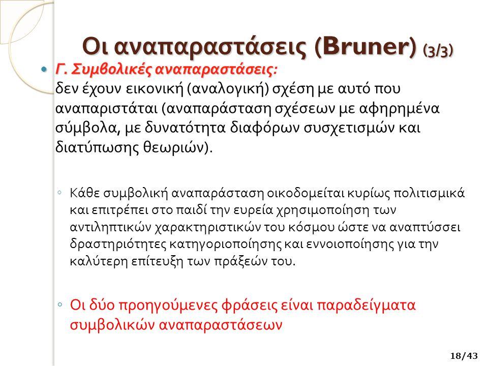 Οι αναπαραστάσεις (Bruner) ( 3/3) Γ.Συμβολικές αναπαραστάσεις Γ.