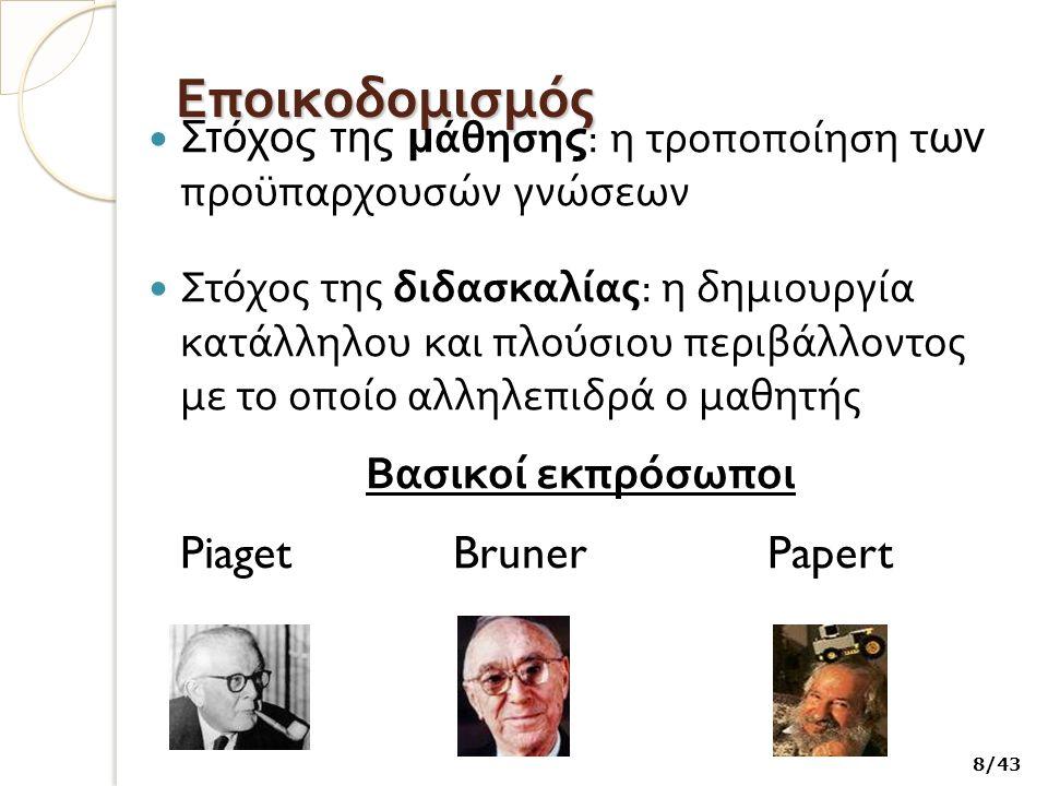 Εποικοδομισμός Στόχος της μ άθηση ς : η τροποποίηση τ ων προϋπαρχουσών γνώσεων Στόχος της διδασκαλίας : η δημιουργία κατάλληλου και πλούσιου περιβάλλοντος με το οποίο αλληλεπιδρά ο μαθητής Βασικοί εκπρόσωποι PiagetBrunerPapert 8/43