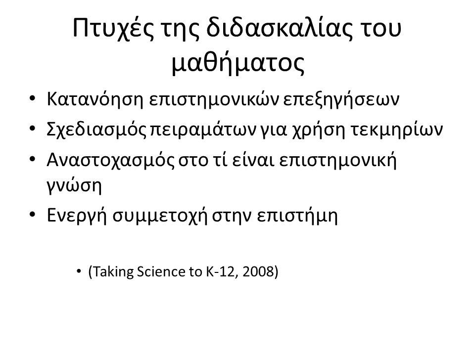 Πτυχές της διδασκαλίας του μαθήματος Κατανόηση επιστημονικών επεξηγήσεων Σχεδιασμός πειραμάτων για χρήση τεκμηρίων Αναστοχασμός στο τί είναι επιστημονική γνώση Ενεργή συμμετοχή στην επιστήμη (Taking Science to K-12, 2008)