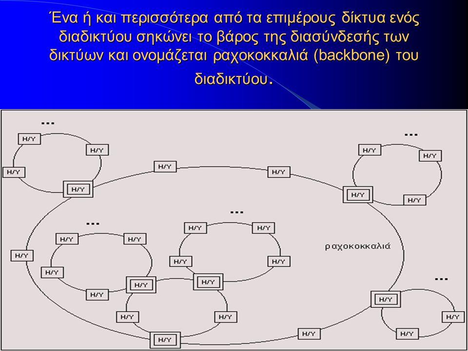 Ένα ή και περισσότερα από τα επιμέρους δίκτυα ενός διαδικτύου σηκώνει το βάρος της διασύνδεσής των δικτύων και ονομάζεται ραχοκοκκαλιά (backbone) του