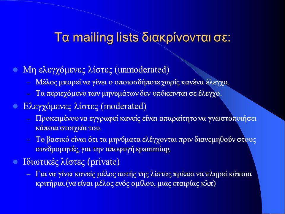Τα mailing lists διακρίνονται σε: Μη ελεγχόμενες λίστες (unmoderated) – Μέλος μπορεί να γίνει ο οποιοσδήποτε χωρίς κανένα έλεγχο. – Τα περιεχόμενο των