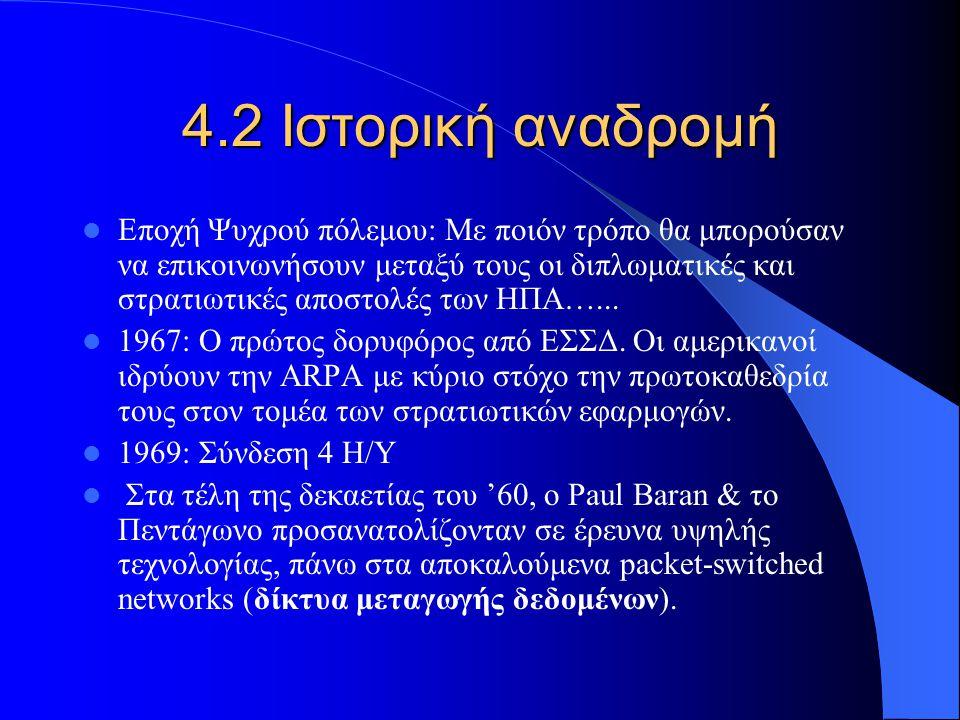 4.2 Ιστορική αναδρομή Εποχή Ψυχρού πόλεμου: Με ποιόν τρόπο θα μπορούσαν να επικοινωνήσουν μεταξύ τους οι διπλωματικές και στρατιωτικές αποστολές των Η