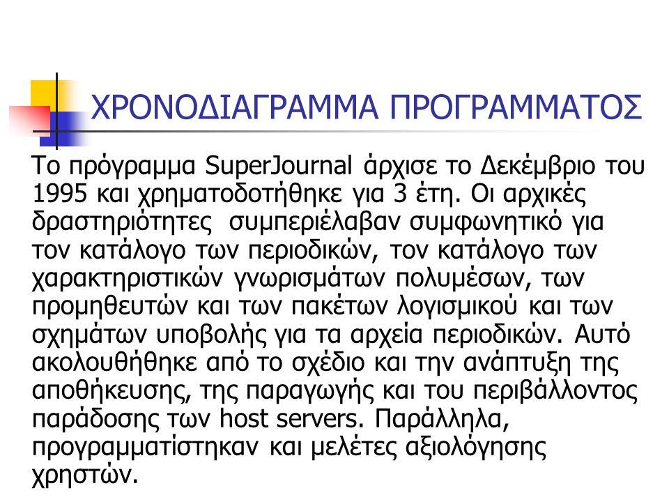 ΧΡΟΝΟΔΙΑΓΡΑΜΜΑ ΠΡΟΓΡΑΜΜΑΤΟΣ Το πρόγραμμα SuperJournal άρχισε το Δεκέμβριο του 1995 και χρηματοδοτήθηκε για 3 έτη.