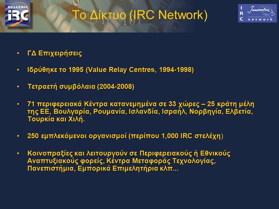 Το Δίκτυο (IRC Network) ΓΔ ΕπιχειρήσειςΓΔ Επιχειρήσεις Ιδρύθηκε το 1995 (Value Relay Centres, 1994-1998)Ιδρύθηκε το 1995 (Value Relay Centres, 1994-1998) Τετραετή συμβόλαια (2004-2008)Τετραετή συμβόλαια (2004-2008) 71 περιφερειακά Κέντρα κατανεμημένα σε 33 χώρες – 25 κράτη μέλη της ΕΕ, Βουλγαρία, Ρουμανία, Ισλανδία, Ισραήλ, Νορβηγία, Ελβετία, Τουρκία και Χιλή.71 περιφερειακά Κέντρα κατανεμημένα σε 33 χώρες – 25 κράτη μέλη της ΕΕ, Βουλγαρία, Ρουμανία, Ισλανδία, Ισραήλ, Νορβηγία, Ελβετία, Τουρκία και Χιλή.