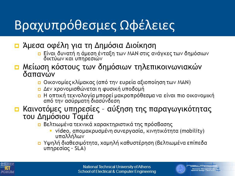 National Technical University of Athens School of Electrical & Computer Engineering Βραχυπρόθεσμες Ωφέλειες  Άμεσα οφέλη για τη Δημόσια Διοίκηση  Είναι δυνατή η άμεση ένταξη των ΜΑΝ στις ανάγκες των δημόσιων δικτύων και υπηρεσιών  Μείωση κόστους των δημόσιων τηλεπικοινωνιακών δαπανών  Οικονομίες κλίμακας (από την ευρεία αξιοποίηση των ΜΑΝ)  Δεν χρονομισθώνεται η φυσική υποδομή  Η οπτική τεχνολογία μπορεί μακροπρόθεσμα να είναι πιο οικονομική από την ασύρματη διασύνδεση  Καινοτόμες υπηρεσίες – αύξηση της παραγωγικότητας του Δημόσιου Τομέα  Βελτιωμένα τεχνικά χαρακτηριστικά της πρόσβασης  video, απομακρυσμένη συνεργασία, κινητικότητα (mobility) υπαλλήλων  Υψηλή διαθεσιμότητα, χαμηλή καθυστέρηση (βελτιωμένα επίπεδα υπηρεσίας - SLA)