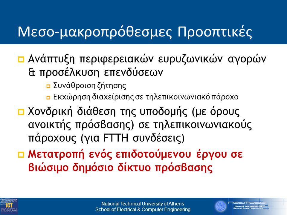 National Technical University of Athens School of Electrical & Computer Engineering Μεσο-μακροπρόθεσμες Προοπτικές  Ανάπτυξη περιφερειακών ευρυζωνικών αγορών & προσέλκυση επενδύσεων  Συνάθροιση ζήτησης  Εκχώρηση διαχείρισης σε τηλεπικοινωνιακό πάροχο  Χονδρική διάθεση της υποδομής (με όρους ανοικτής πρόσβασης) σε τηλεπικοινωνιακούς πάροχους (για FTTH συνδέσεις)  Μετατροπή ενός επιδοτούμενου έργου σε βιώσιμο δημόσιο δίκτυο πρόσβασης