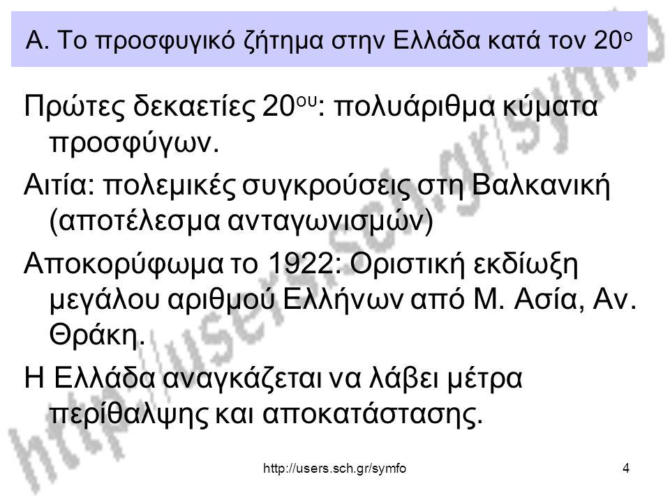 http://users.sch.gr/symfo4 Α. Το προσφυγικό ζήτημα στην Ελλάδα κατά τον 20 ο Πρώτες δεκαετίες 20 ου : πολυάριθμα κύματα προσφύγων. Αιτία: πολεμικές συ