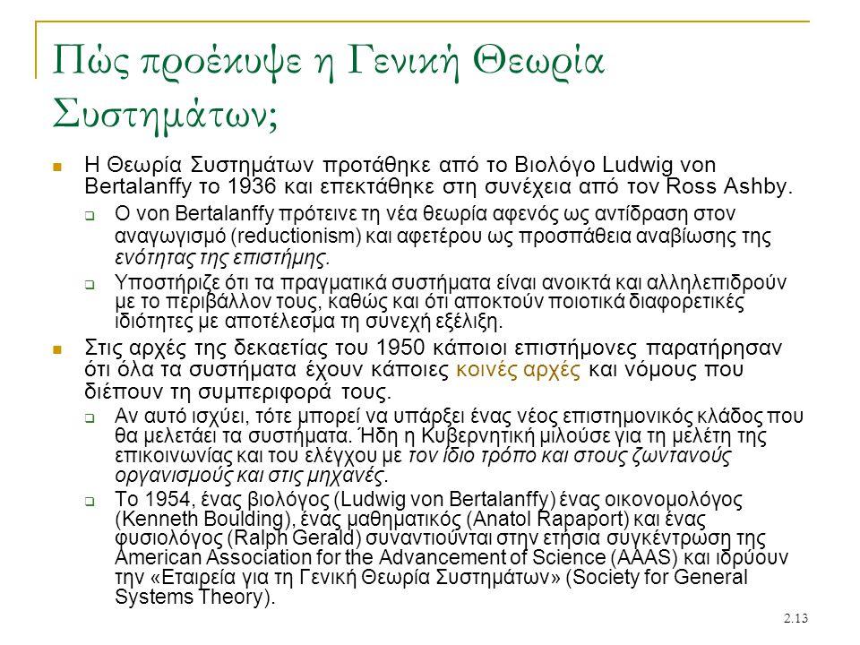 2.13 Πώς προέκυψε η Γενική Θεωρία Συστημάτων; Η Θεωρία Συστημάτων προτάθηκε από το Βιολόγο Ludwig von Bertalanffy το 1936 και επεκτάθηκε στη συνέχεια από τον Ross Ashby.