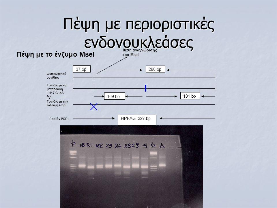 Πέψη με το ένζυμο MseI Πέψη με περιοριστικές ενδονουκλεάσες 109 bp 181 bp 37 bp HPFAG 327 bp 290 bp θέση αναγνώρισης του MseI Γονίδιο με την έλλειψη 4