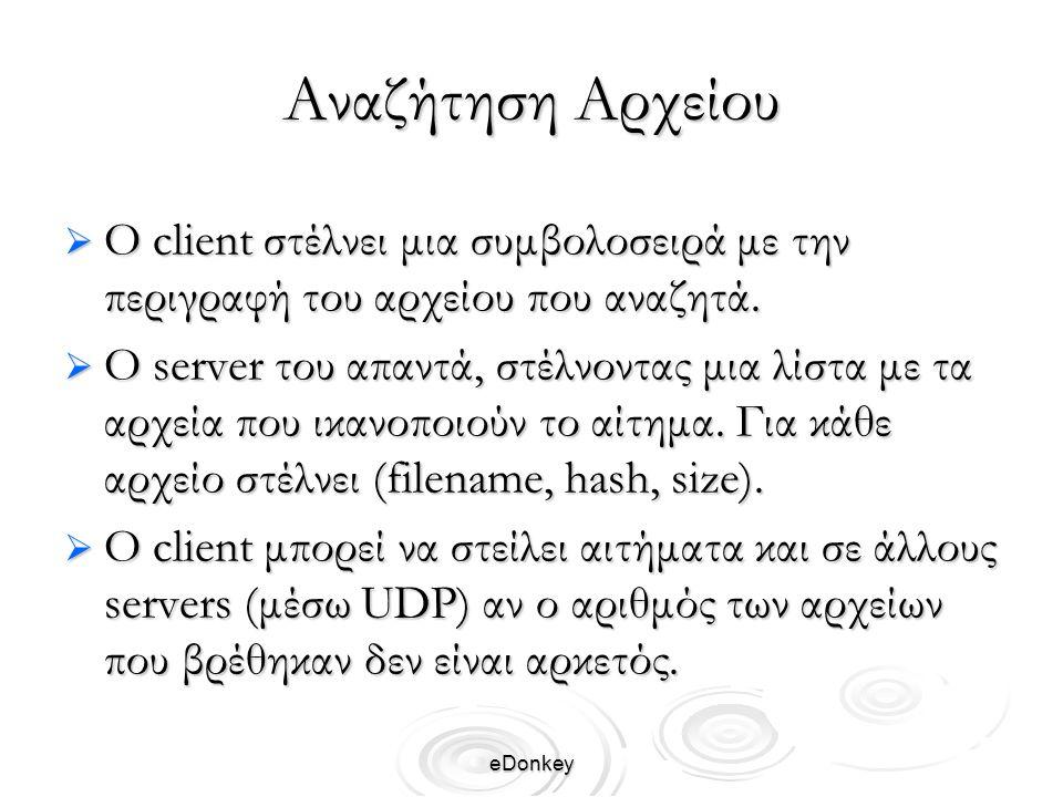 eDonkey Αναζήτηση Αρχείου  Ο client στέλνει μια συμβολοσειρά με την περιγραφή του αρχείου που αναζητά.