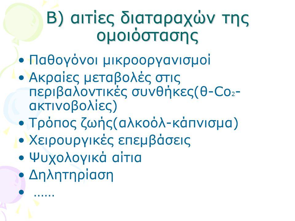 Β) αιτίες διαταραχών της ομοιόστασης Παθογόνοι μικροοργανισμοί Ακραίες μεταβολές στις περιβαλοντικές συνθήκες(θ-Co 2 - ακτινοβολίες) Τρόπος ζωής(αλκοόλ-κάπνισμα) Χειρουργικές επεμβάσεις Ψυχολογικά αίτια Δηλητηρίαση ……