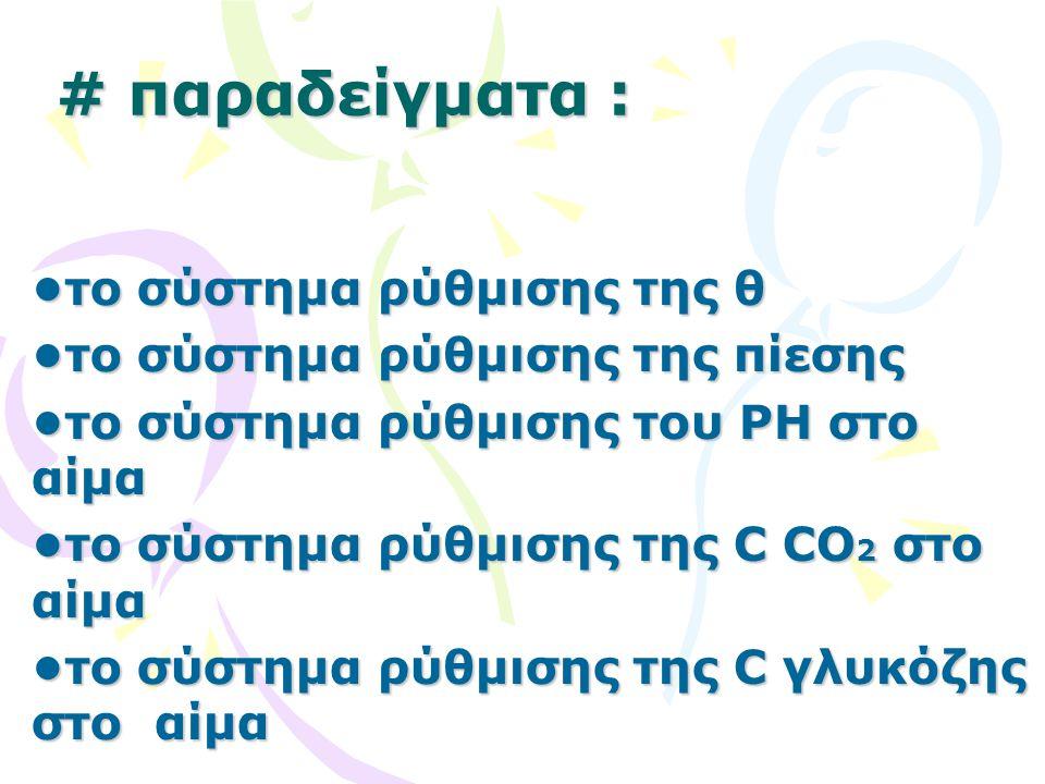 # παραδείγματα : το σύστημα ρύθμισης της θ το σύστημα ρύθμισης της πίεσης το σύστημα ρύθμισης του PH στο αίμα το σύστημα ρύθμισης της C CO 2 στο αίμα το σύστημα ρύθμισης της C γλυκόζης στο αίμα