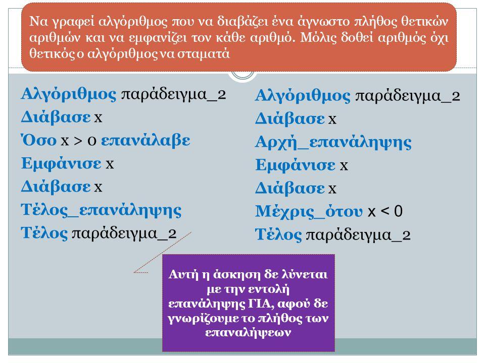 Αλγόριθμος παράδειγμα_2 Διάβασε x Όσο x > 0 επανάλαβε Εμφάνισε x Διάβασε x Τέλος_επανάληψης Τέλος παράδειγμα_2 Να γραφεί αλγόριθμος που να διαβάζει έν