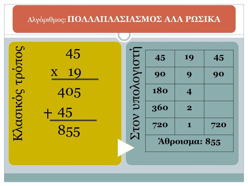 Αλγόριθμος: ΠΟΛΛΑΠΛΑΣΙΑΣΜΟΣ ΑΛΑ ΡΩΣΙΚΑ Κλασικός τρόπος 45 x 19 405 45 855 Στον υπολογιστή 451945 909 1804 3602 7201 Άθροισμα: 855