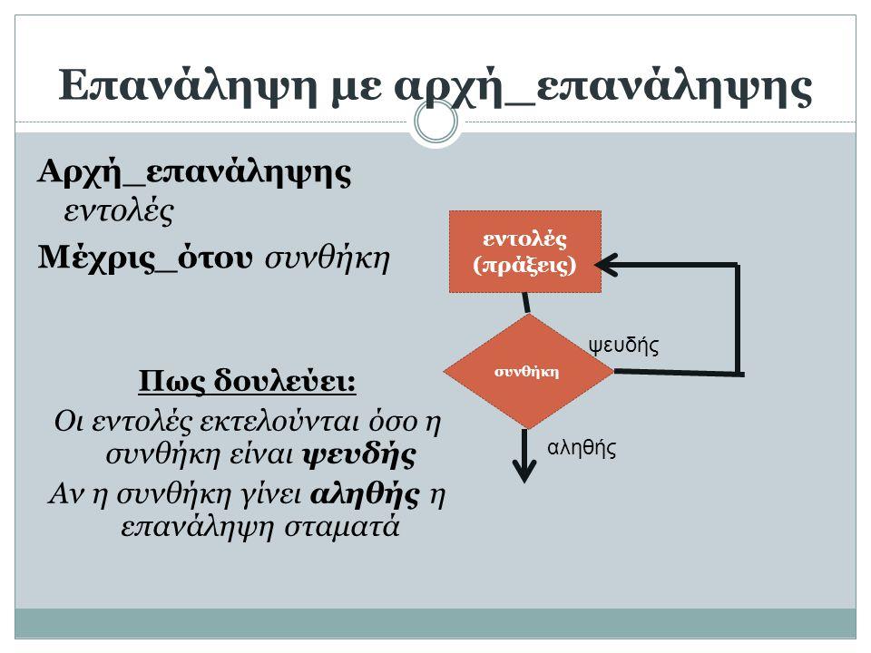 Επανάληψη με αρχή_επανάληψης Αρχή_επανάληψης εντολές Μέχρις_ότου συνθήκη συνθήκη εντολές (πράξεις) αληθής ψευδής Πως δουλεύει: Οι εντολές εκτελούνται