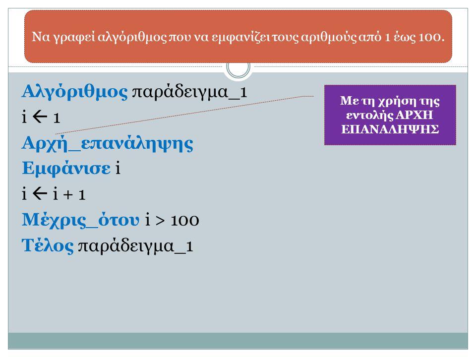 Αλγόριθμος παράδειγμα_1 i  1 Αρχή_επανάληψης Εμφάνισε i i  i + 1 Μέχρις_ότου i > 100 Τέλος παράδειγμα_1 Να γραφεί αλγόριθμος που να εμφανίζει τους α