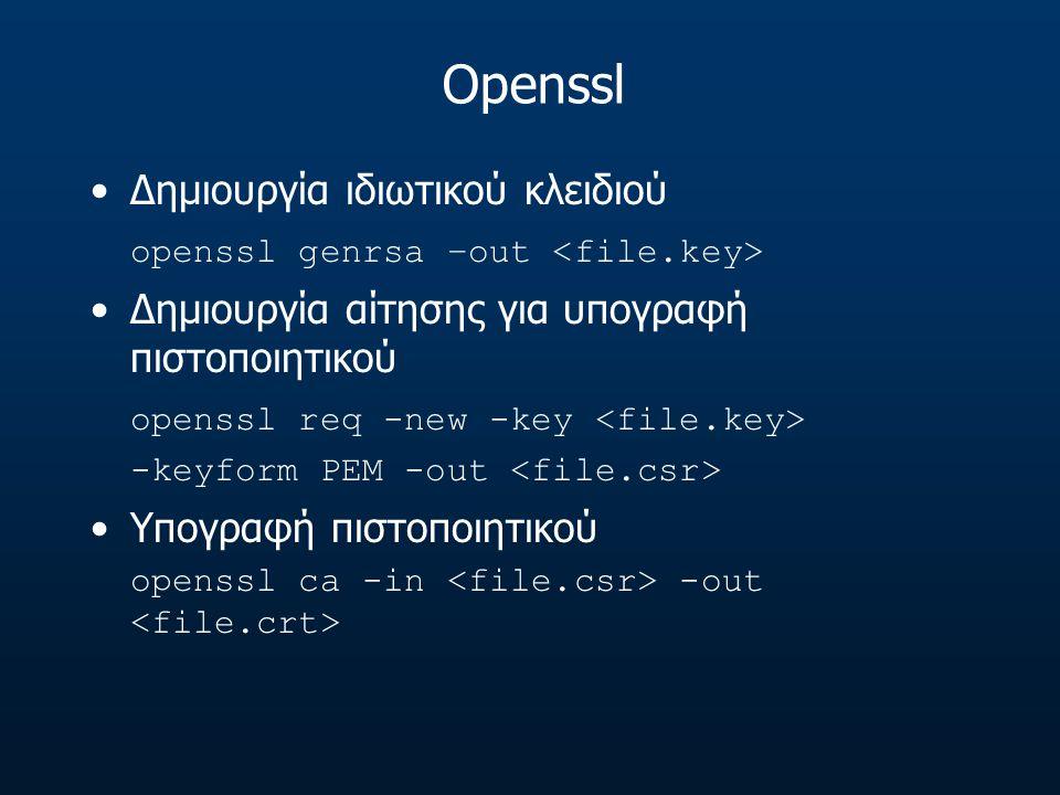 Openssl Δημιουργία ιδιωτικού κλειδιού openssl genrsa –out Δημιουργία αίτησης για υπογραφή πιστοποιητικού openssl req -new -key -keyform PEM -out Υπογρ