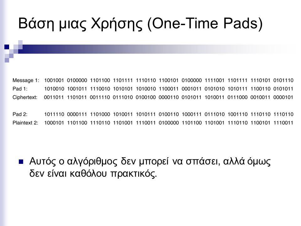 Βάση μιας Χρήσης (One-Time Pads) Αυτός ο αλγόριθμος δεν μπορεί να σπάσει, αλλά όμως δεν είναι καθόλου πρακτικός.