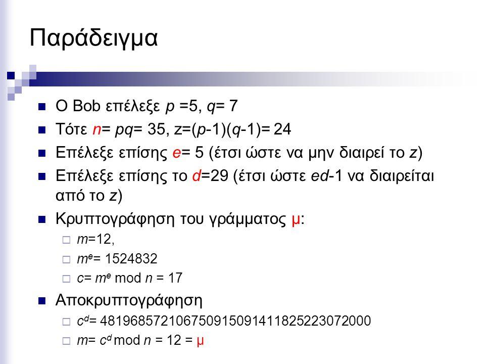 Παράδειγμα Ο Bob επέλεξε p =5, q= 7 Τότε n= pq= 35, z=(p-1)(q-1)= 24 Επέλεξε επίσης e= 5 (έτσι ώστε να μην διαιρεί το z) Επέλεξε επίσης το d=29 (έτσι ώστε ed-1 να διαιρείται από το z) Κρυπτογράφηση του γράμματος μ:  m=12,  m e = 1524832  c= m e mod n = 17 Αποκρυπτογράφηση  c d = 481968572106750915091411825223072000  m= c d mod n = 12 = μ