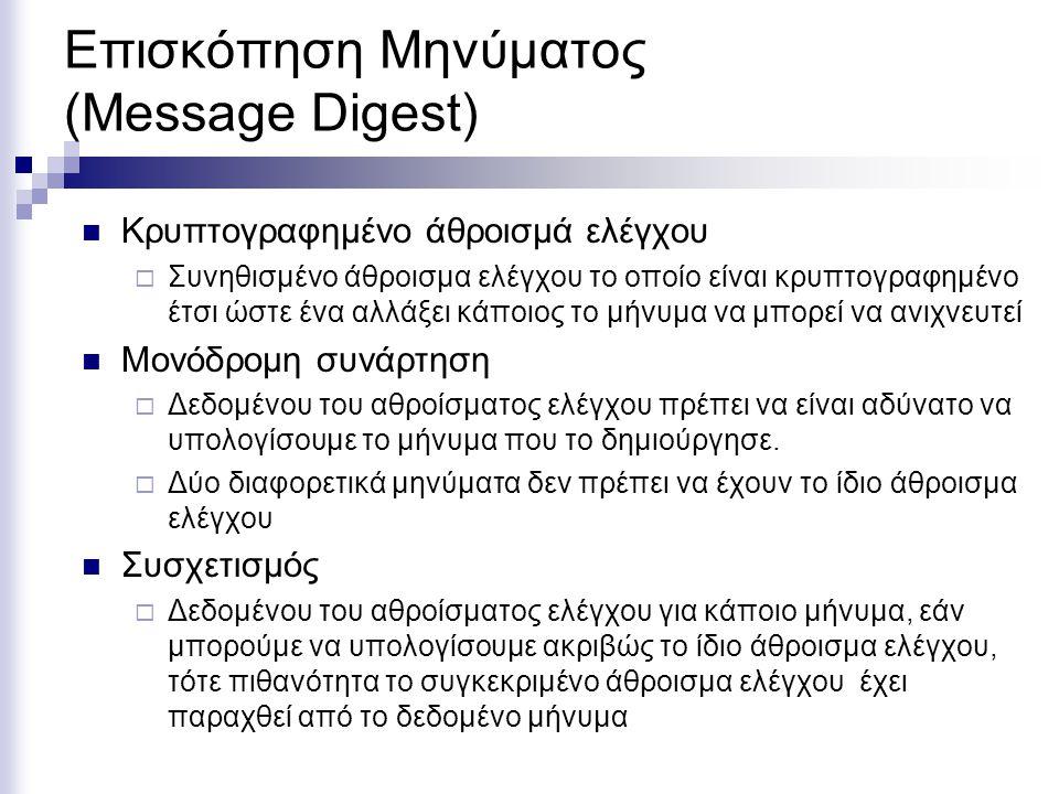 Επισκόπηση Μηνύματος (Message Digest) Κρυπτογραφημένο άθροισμά ελέγχου  Συνηθισμένο άθροισμα ελέγχου το οποίο είναι κρυπτογραφημένο έτσι ώστε ένα αλλάξει κάποιος το μήνυμα να μπορεί να ανιχνευτεί Μονόδρομη συνάρτηση  Δεδομένου του αθροίσματος ελέγχου πρέπει να είναι αδύνατο να υπολογίσουμε το μήνυμα που το δημιούργησε.