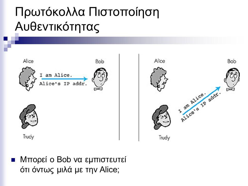 Πρωτόκολλα Πιστοποίηση Αυθεντικότητας Μπορεί ο Bob να εμπιστευτεί ότι όντως μιλά με την Alice;