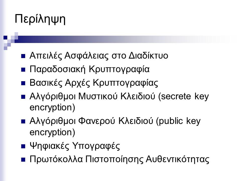 Περίληψη Απειλές Ασφάλειας στο Διαδίκτυο Παραδοσιακή Κρυπτογραφία Βασικές Αρχές Κρυπτογραφίας Αλγόριθμοι Μυστικού Κλειδιού (secrete key encryption) Αλγόριθμοι Φανερού Κλειδιού (public key encryption) Ψηφιακές Υπογραφές Πρωτόκολλα Πιστοποίησης Αυθεντικότητας