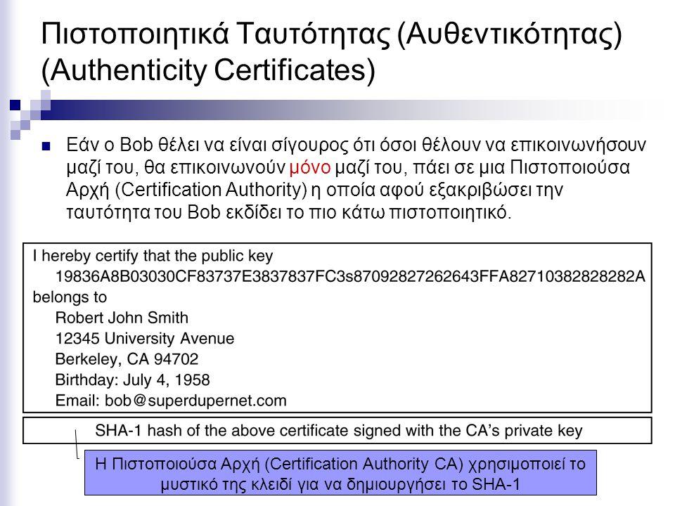 Πιστοποιητικά Ταυτότητας (Αυθεντικότητας) (Authenticity Certificates) Εάν ο Bob θέλει να είναι σίγουρος ότι όσοι θέλουν να επικοινωνήσουν μαζί του, θα επικοινωνούν μόνο μαζί του, πάει σε μια Πιστοποιούσα Αρχή (Certification Authority) η οποία αφού εξακριβώσει την ταυτότητα του Bob εκδίδει το πιο κάτω πιστοποιητικό.