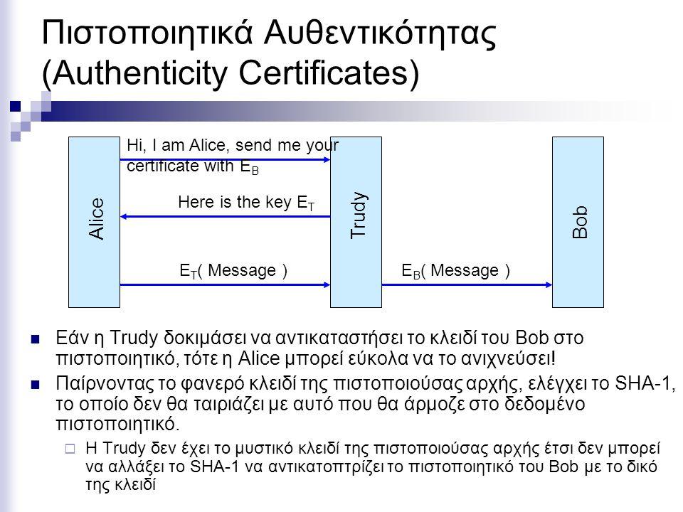 Πιστοποιητικά Αυθεντικότητας (Authenticity Certificates) Εάν η Trudy δοκιμάσει να αντικαταστήσει το κλειδί του Bob στο πιστοποιητικό, τότε η Alice μπορεί εύκολα να το ανιχνεύσει.