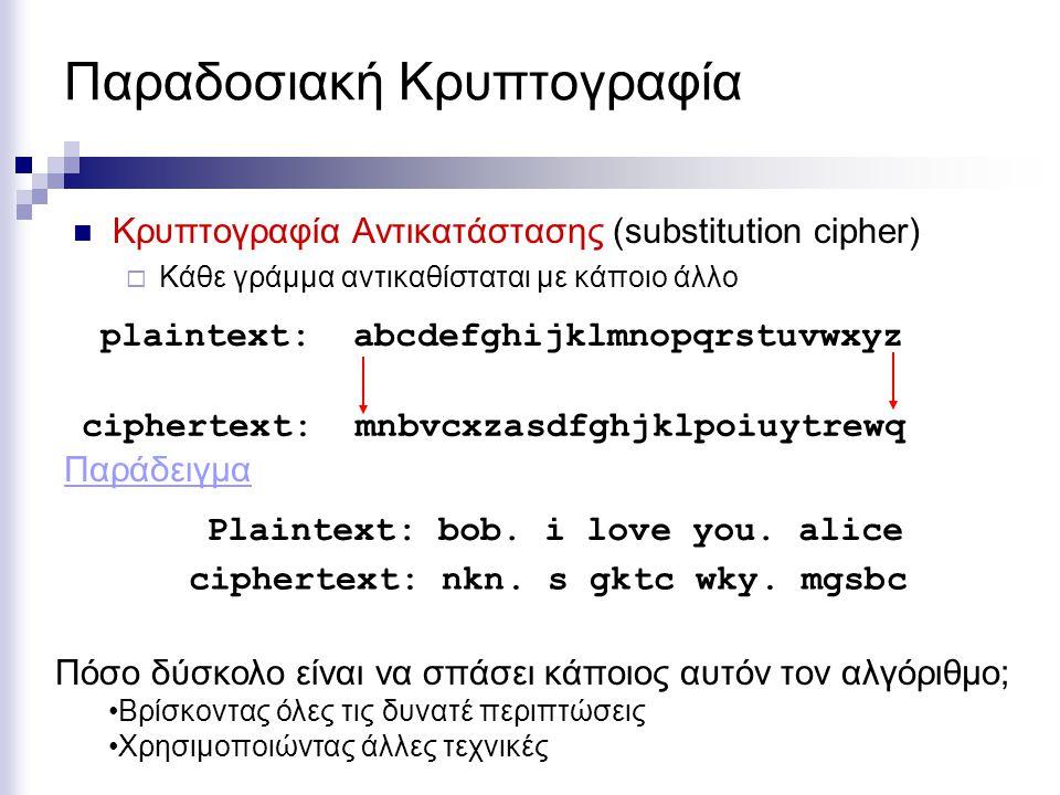 Παραδοσιακή Κρυπτογραφία Κρυπτογραφία Αντικατάστασης (substitution cipher)  Κάθε γράμμα αντικαθίσταται με κάποιο άλλο plaintext: abcdefghijklmnopqrstuvwxyz ciphertext: mnbvcxzasdfghjklpoiuytrewq Plaintext: bob.