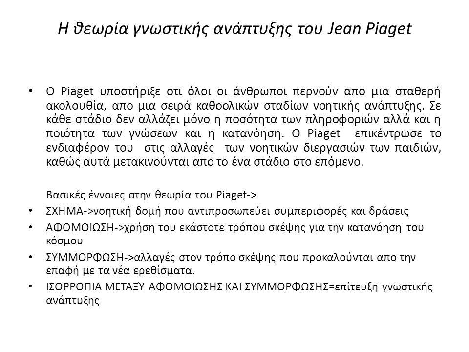 Η θεωρία γνωστικής ανάπτυξης του Jean Piaget O Piaget υποστήριξε οτι όλοι οι άνθρωποι περνούν απο μια σταθερή ακολουθία, απο μια σειρά καθοολικών σταδίων νοητικής ανάπτυξης.